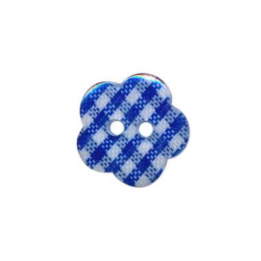 Bloemknoop geruit kobalt blauw/wit 15 mm (ca. 50 stuks)