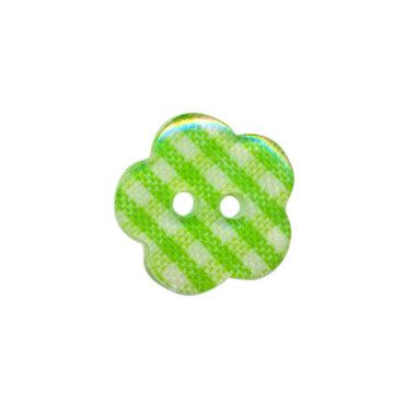 Bloemknoop geruit groen/wit 15 mm (ca. 50 stuks)