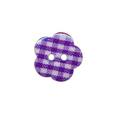 Bloemknoop geruit paars/wit 15 mm (ca. 50 stuks)