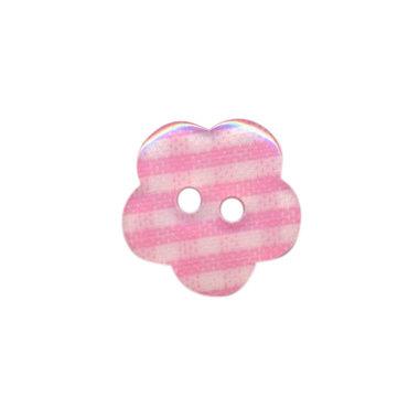 Bloemknoop geruit roze/wit 15 mm (ca. 50 stuks)