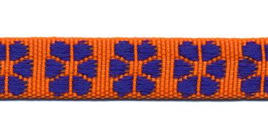 TUNNELband 15 mm bloem oranje/kobalt blauw (ca. 5 m)