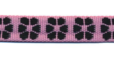 TUNNELband 15 mm bloem roze/zwart (ca. 5 m)