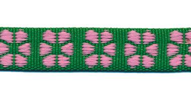 TUNNELband 15 mm bloem groen/roze (ca. 5 m)