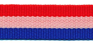 Tassenband 25 mm Nederlandse vlag rood/wit/blauw STEVIG (ca. 50 m)