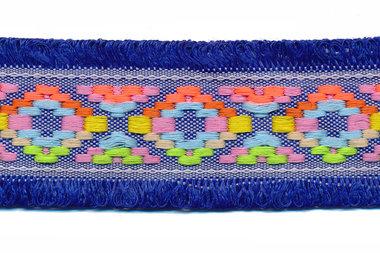 Kobalt blauw franjeband Ibiza stijl met franjes aan beide zijden 45 mm (ca. 5 m)