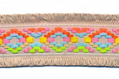 Zandkleurig franjeband Ibiza stijl met franjes aan beide zijden 45 mm (ca. 5 m)