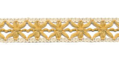 Gebreid sierband goudgeel met creme ca. 15 mm (ca. 10 m)
