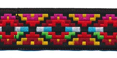 Sierband Inca stijl zwart-rood-fuchsia-geel 25 mm (ca. 22 m)