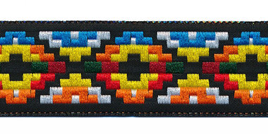 Sierband Inca stijl zwart-geel-oranje-blauw 25 mm (ca. 22 m)
