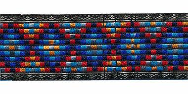 Sierband Inca stijl zwart-blauw-rood-oranje 25 mm (ca. 22 m)