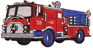Opstrijkbare applicatie brandweerauto rood (5 stuks)