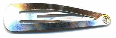 Klik-klak haarknipje zilverkleurig 4,5 cm (ca. 20 stuks)