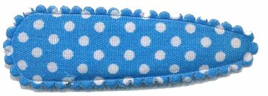 Haarknip met haarkniphoesje blauw met witte stip / polkadot 5 cm (ca. 100 stuks)