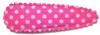 Haarknip met haarkniphoesje knal roze met witte stip / polkadot 5 cm (ca. 100 stuks)