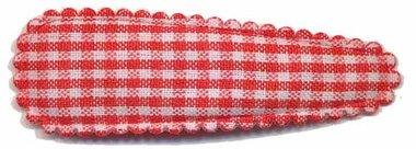 Haarknip met haarkniphoesje rood-wit geruit 5 cm (ca. 100 stuks)