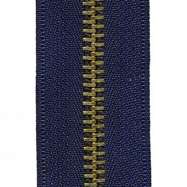 Metalen rits donker blauw #919 met messing tanden maat 5 (ca. 5 m)