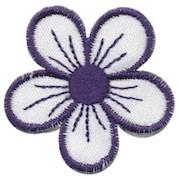 Applicatie bloem wit/donker blauw (ca. 10 stuks)