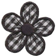 Applicatie geruite bloem zwart 40 mm (10 stuks)