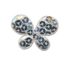 Applicatie vlinder met pailletten zilver 35 x 25 mm (10 stuks)