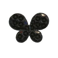 Applicatie vlinder met pailletten zwart 35 x 25 mm (10 stuks)