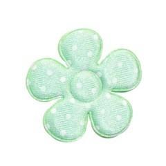 Applicatie bloem mintgroen met witte stippen satijn middel 35 mm  (ca. 100 stuks)