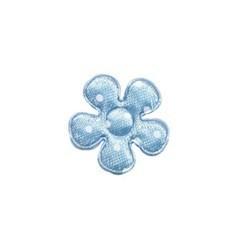 Applicatie bloem licht blauw met witte stippen satijn klein 20 mm (ca. 100 stuks)