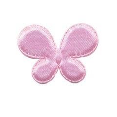 Applicatie vlinder roze satijn effen middel 35 x 25 mm (ca. 100 stuks)