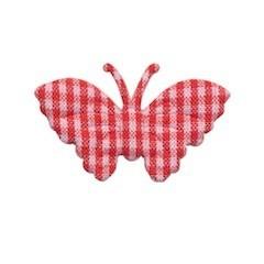 Applicatie geruite vlinder rood-wit middel 40 x 25 mm (ca. 100 stuks)