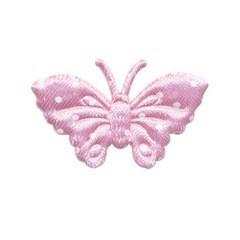 Applicatie vlinder roze met witte stippen satijn middel 40 x 25 mm (ca. 100 stuks)