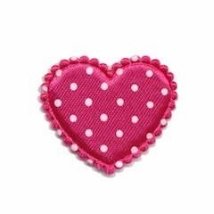 Applicatie hart fuchsia met witte stippen satijn middel 35 x 30 mm (ca. 100 stuks)