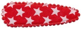 Haarkniphoesje rood met witte sterren 5 cm (ca. 100 stuks)