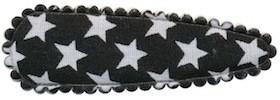 Haarkniphoesje zwart met witte sterren 5 cm (ca. 100 stuks)