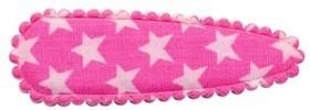 Haarkniphoesje roze met witte sterren 5 cm (ca. 20 stuks)