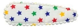 Haarkniphoesje creme met multi color sterretjes 5 cm (ca. 100 stuks)