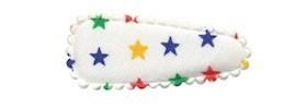 Haarkniphoesje creme met multi color sterretjes 3 cm (ca. 100 stuks)