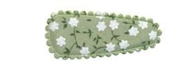 Haarkniphoesje groen met witte bloemetjes 3 cm (ca. 20 stuks)