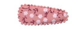 Haarkniphoesje oud roze met witte bloemetjes 3 cm (ca. 100 stuks)