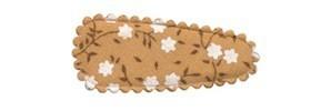 Haarkniphoesje camel met witte bloemetjes 3 cm (ca. 100 stuks)