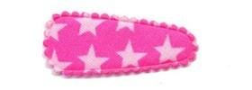 Haarkniphoesje roze met witte sterren 3 cm (ca. 100 stuks)