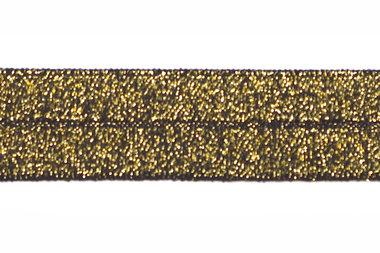 Goud op zwart #003 elastisch biaisband 20 mm (ca. 25 m)