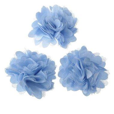 Bloem stof licht blauw ca. 5 cm (5 stuks)