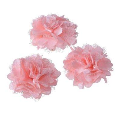Bloem stof baby roze ca. 5 cm (5 stuks)