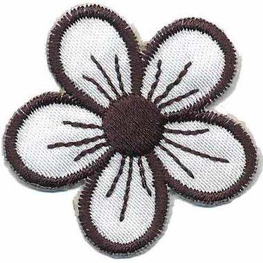 Applicatie bloem wit/zwart rond blad (10 stuks)