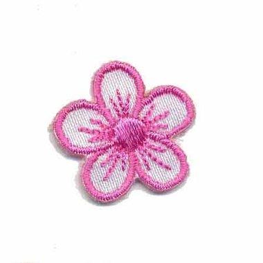 Applicatie bloem wit/roze klein (10 stuks)