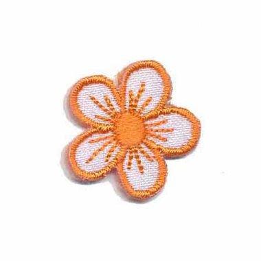 Applicatie bloem wit/oranje klein (10 stuks)