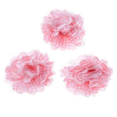 Bloem stof roze met witte stip ca. 5 cm (5 stuks)