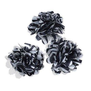 Bloem stof wit zwart gestreept ZEBRA ca. 5 cm (5 stuks)