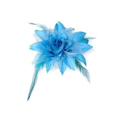 Bloem XL stof met veertjes aqua blauw ca. 13 cm (5 stuks)