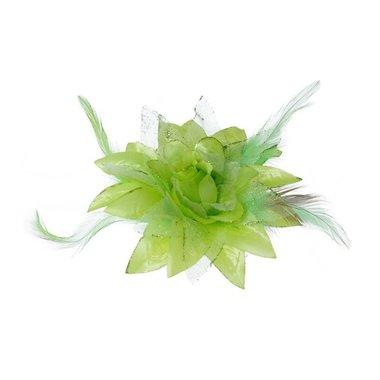Bloem XL stof met veertjes groen ca. 13 cm (5 stuks)
