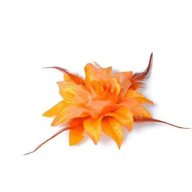 Bloem XL stof met veertjes oranje ca. 13 cm (5 stuks)